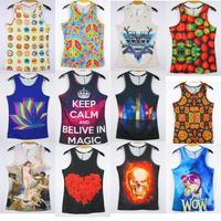 High-quality! 2014 Fashion women / men animal / skull 3d leopard print sleeveless T Shirt tiger 3D vest tank tops Free shipping