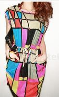 New 2014 Women's Summer Fashion Casual Dress Elegant O-neck Sleeveless Plaid Printed Party Dress Chiffon Bandage Dress M,L,XL