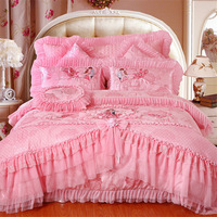 4pc/5pc/6pc/8pc/9pc available Chinese traditional wedding bedding set luxury lace edge bedspread pink/red comforter set queen