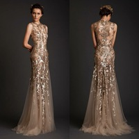 Free Shipping Custom Made High Quality Mermaid Gold Full Appliques Special Design Sexy Crew Saudi Arabia Long Evening Dresses