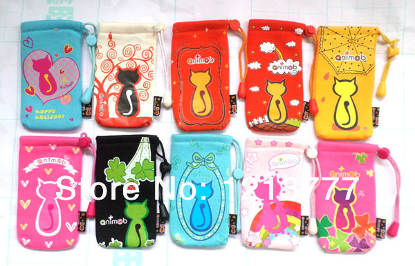 Free shipping Wholesale New Cartoon Animob Cat 30 pcs Drawstring Phone Sock Soft case(China (Mainland))