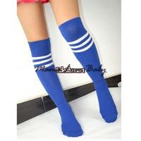 5pairs/lot 6 Dif. COLORS! Pure color Unisex Knee High Stripe TUBE SOCKS Football Socks High Quality 18938