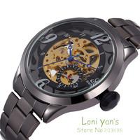 SHENHUA Black Steel Blue Hands Skeleton Dial Men's Auto Sport Automatic Mechanical Wrist Watch+Gift Box Free Ship