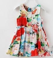 Summer New peacock feather vest dress Korean Abstract painting noil poplin sundress for girl 2-10years