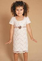 Cute Fashion Lace Short Sleeves Knee Length Empire Waist Flower Girl Dress