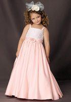 Pink Spaghetti Straps Applique Taffeta Floor Length Ruffled Flower Girl Dress