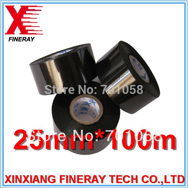 25mm*100m black color hot coding foil/pet transfer printing films(China (Mainland))