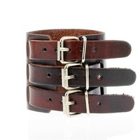 New Arrival Punk Brown Mens Jewelry Adjustable Multi Layers 6.5cm 3'' Wide Wristband Handmade PU Leather Cuff Bangle & Bracelet
