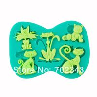 Free Shipping Silicone Fondant cake decoration Animal mould Soap mold