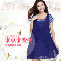 Mm spring 2014 plus size clothing summer plus size plus size chiffon one-piece dress
