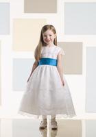 Siren Tiered White Round Neckline Tea Length Blue Sash Flower Girl Dress