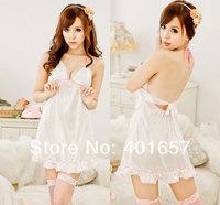 SWA4024  lovely pure white sexy dress white lace backless dress lingerie  babydoll underwear/sleepwear
