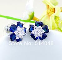 Fashion Jewelry Free Shipping Luxurious Blue Red White Zircon Crystal Earrings Jewelry Elegant Wedding stud earrings