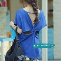 2014 summer new arrival fashion hanryu back twist cutout personality wide T-shirt short-sleeve shirt