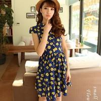 2014 summer new arrival turn-down collar chiffon one-piece dress