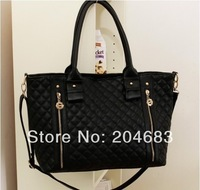 Hot-selling 2014 dual-use horizontal women pu leather handbag double zipper decoration big bag totes black