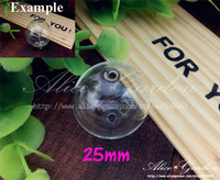 Free ship!! 20pcs/lot 25mm round glass globe bubble with 2-3mm doulbe hole, glass vial , glass bottle