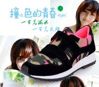 Velcro Camouflage neon color block decoration low platform flat canvas shoes single shoes sport shoes casual shoes women's
