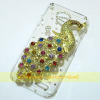 1 Pcs Handmade Bling Peacock Clear Hard back case For LG L70 D320 D325