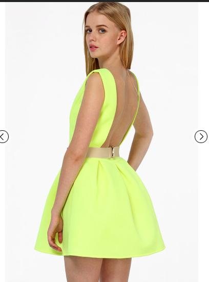 2014 Women Dress ZA AQ Neon Green Pleated Sleeveless Backless open back Flare Skater Mini Dress za hot sale(China (Mainland))