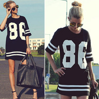 New 2014 Summer Women Celebrity Oversized 86 American Baseball Tee T Shirt Top Short Sleeve Loose Dress, Black, M, L, XL