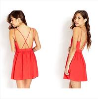 ZQ8875  Hot Sell Women's Summer 2014 Back Cross V-neck Chiffon Pleated Sexy Dress