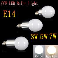 100pcs/lot  3W/5W/7W E14 AC85~265V white/warm white COB LED Bulb Light Spot Lamp Wholesale Price
