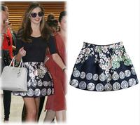 2014 Summer Trendy Women Vintage Print High Waist Skirts Slim Europe America Style Ball Gowns High Street Princess Bud Skirts