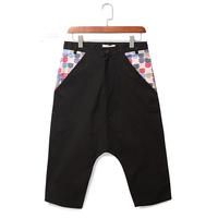 New Arrival Summer Vintage Color Block Decoration Harem Pants Male comfortable casual all-match men's knee-length Capris Pants