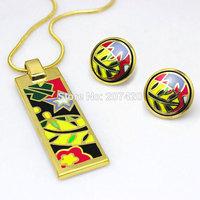 Newest 14K gold Plated Bright Flower Design Enamel Jewelry Set,1pcs/set