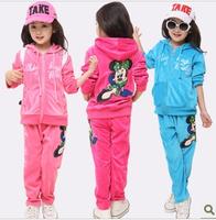 hot sale children 2 pcs suit Cartoon minnie girl clothing set hoodie+pants autumn baby set Retail pink blue red color 2~14y