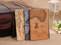 Freeship Fashion earth map Pu leather pouch For Apple ipad 2 case for ipad 3 smart cover for new apple ipad 4 stand holder