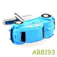 Cute blue car Cufflinks men jewelry AB8761 Crazy Promotion