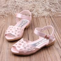 Child 2014 female child cutout shoes fashion princess shoes soft outsole sandals gentlewomen open toe shoes