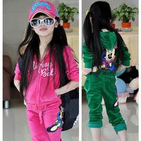 Retail 1set spring baby sport suit cartoon Minnie girls clothing set kids hoodie+long pants girls coat tracksuit
