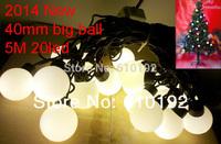 5pcs/lot 2014 new 5M 20 cotton ball lights string 40mm AC 220V  Christmas tree light  Decoration Garden party Club free ship DHL