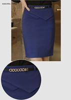 Korean Stylish OL Elegant High Waist Pleated Waist Pencil Skirt Office Work Wear Step Skirts