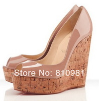 Free Shipping 2014 New Fashion Women Wedges Shoes Peep-toe High Heels Genuine Leather Platform Pumps 140mm