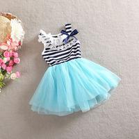 100% cotton 2014 summer new arrival striped bow sleeveless vest knee-length ball gown children wear kid baby girl dress