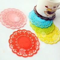 Sweet 7073 laciness translucent cutout lace coasters silica gel coaster heat insulation pad slip-resistant jottings