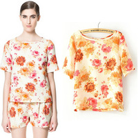 Summer Womens' Orange Floral Print Chiffon Shirt Vintage OL Work Blouse Casual Short Sleeve Top Free Shipping 3.5WTS253