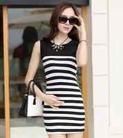 2014 Summer New Fashion Slim Striped Dress White Black Size S M L XL Sleeveless Brief Women Lady Dress Free Shipping