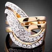 High Quality Hollow Design Sparkling 18k Gold Plated Austrian Crystal Rhinestone Statement Wedding Ring J00146