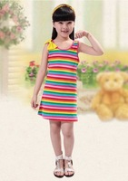 2014 Children's clothes  summer   rainbow dress Han edition stripe bow cotton dress