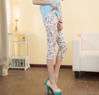 free shipping 2014 Summer women plus size cheap candy color cotton blends elastic print floral pencil pants