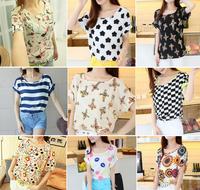 14 Colors!!Exclusive! M-XL, 2014 New Hot Sale heart flower Women Colorful Short Sleeve Chiffon Shirt, T shirt,  Loose Blouse, A1