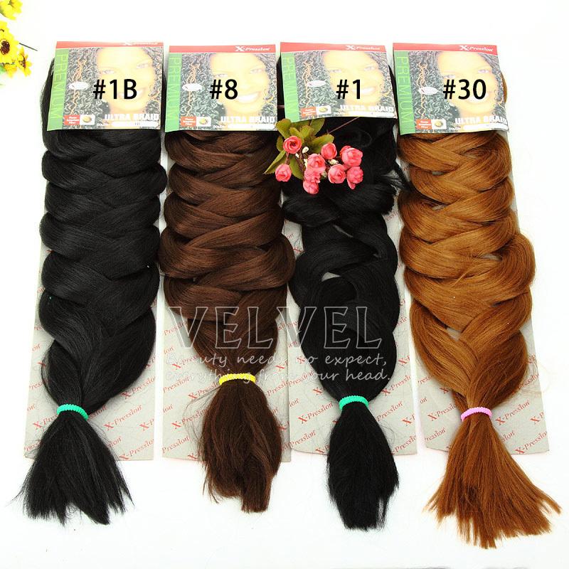 "5PCS+Expression Braids Ultra Braid 82"" 165G Synthetic Hair For Braids Color1,1B,2,4,8,30,33,1B/30,1B/33 X-pression Braiding Hair(China (Mainland))"