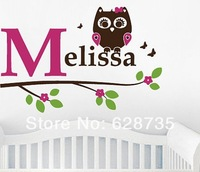 Free shipping personalized name owl wall decal , Girl owl with initial and name on a branch vinyl wall decal stickers,c2004