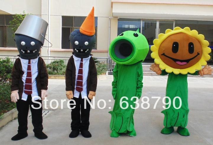 Plants vs zombies cartoon mascotte kostuum ijzeren trommel barricades