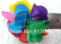 Free CPAM 6.5cm Satin Shabby Rose Hair Flower lace trim,Shabby Rainbow color Flower trimming,10yards/lot